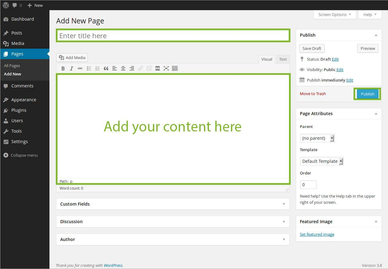Add Pages to WordPress