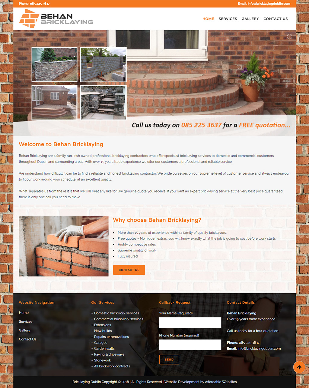 Behan Bricklaying website