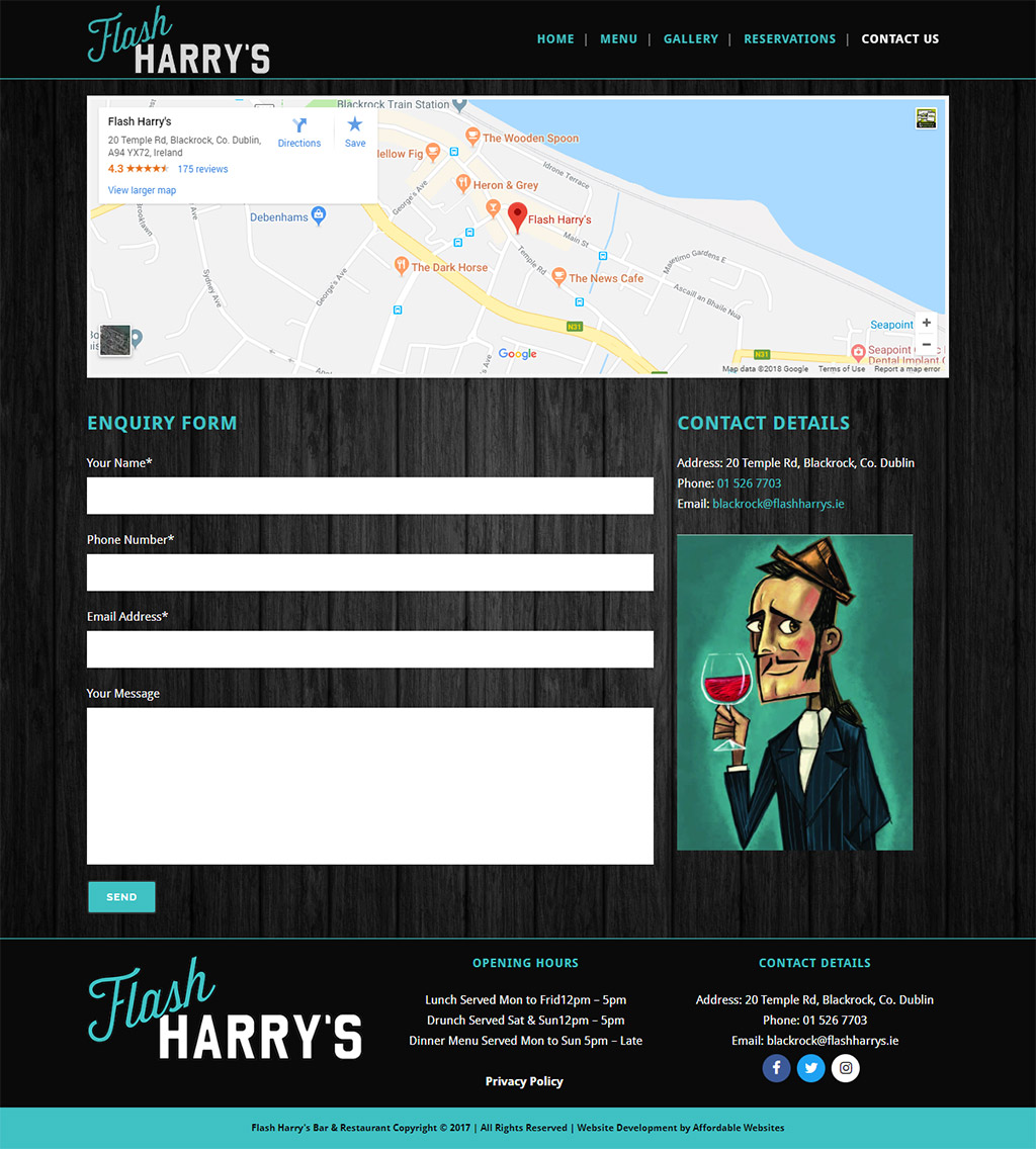 Flash Harrys Restaurant Website by www.affordablewebsites.ie