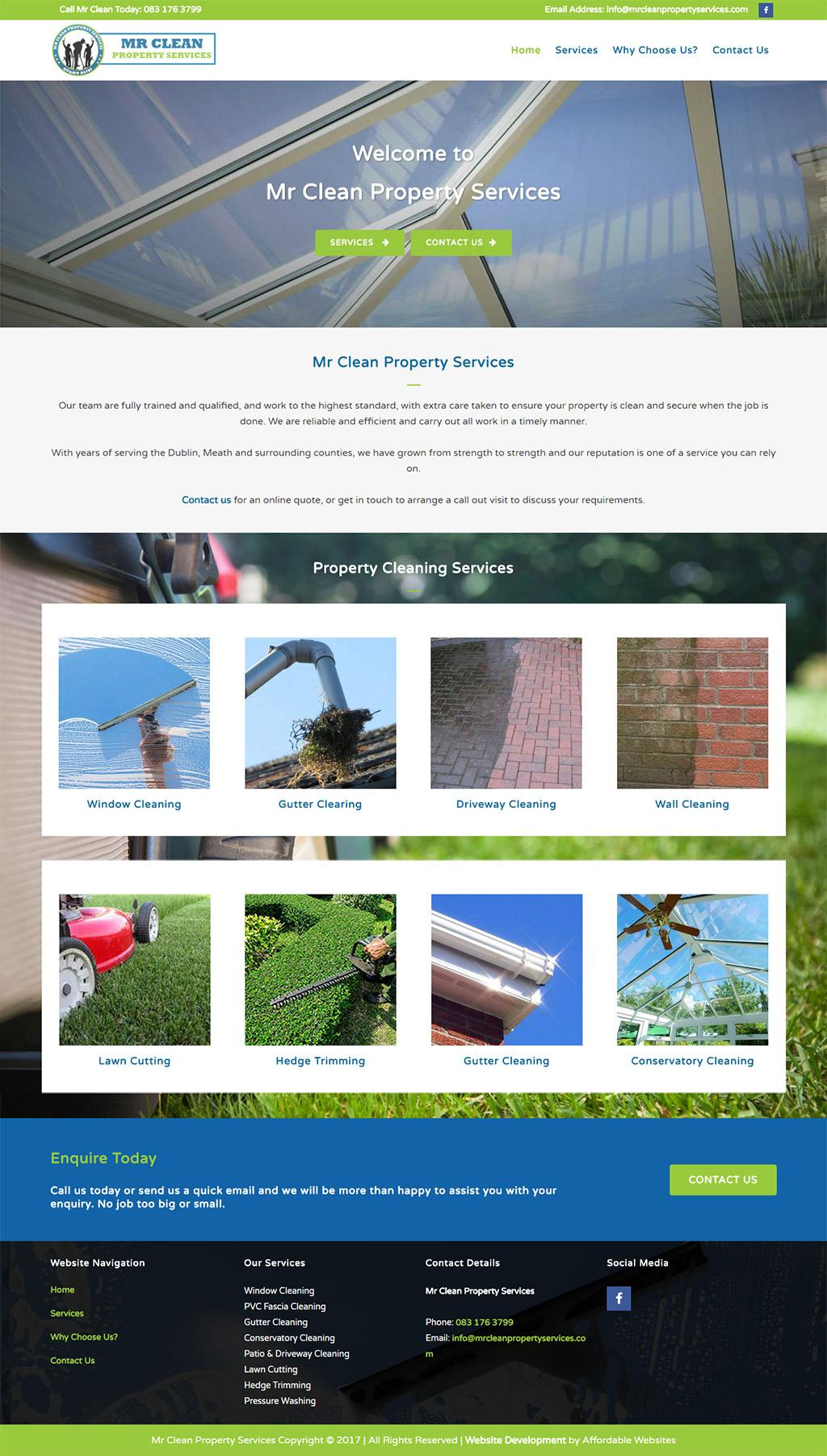 Mr Clean Property Website by www.affordablewebsites.ie