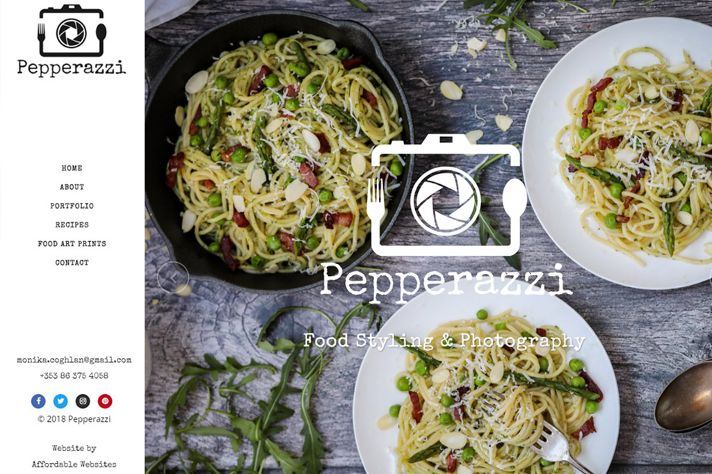 Pepperazzi Food Styling website by www.affordablewebsites.ie
