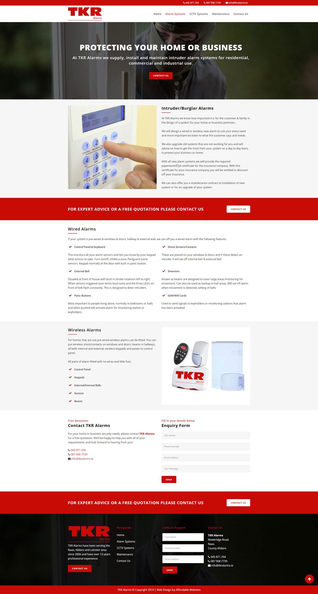 Alarms Company Website