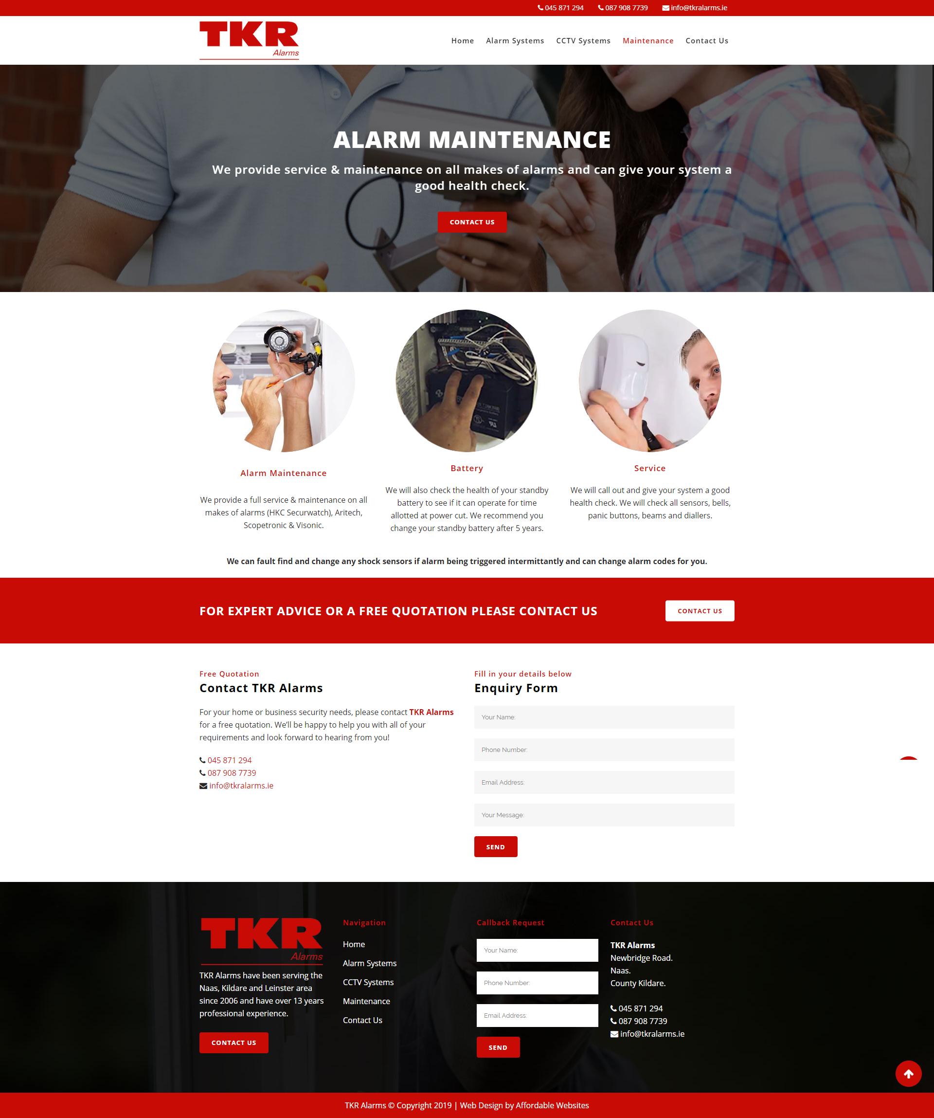 Affordable Website Designer -TKR Alarms.