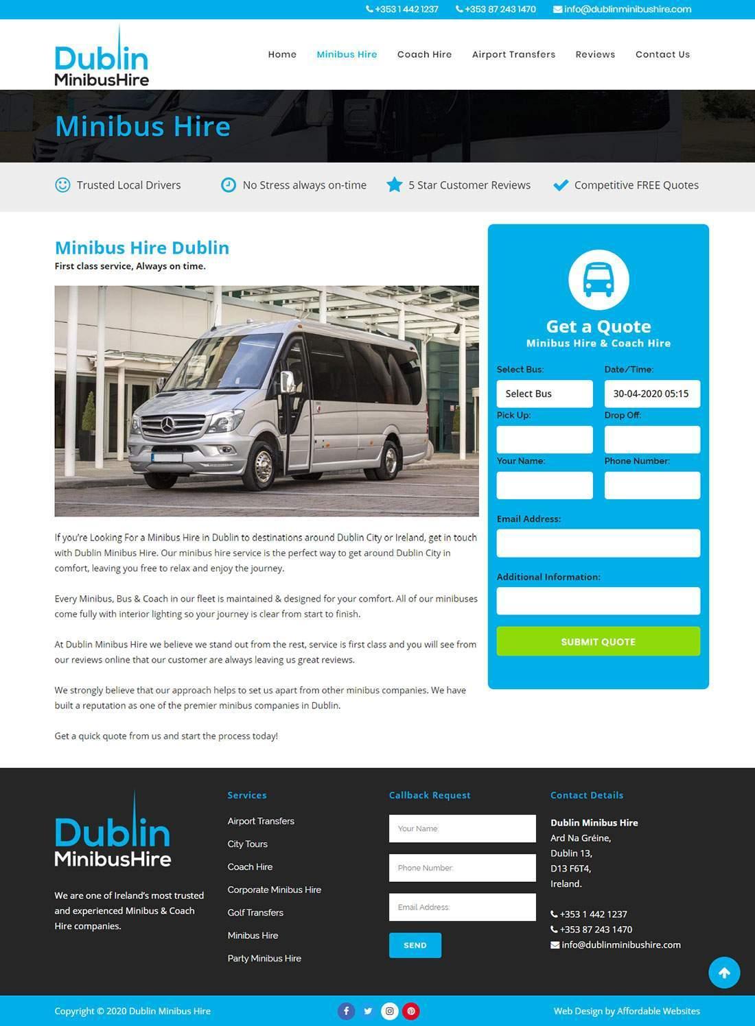 Minibus Hire Website Design